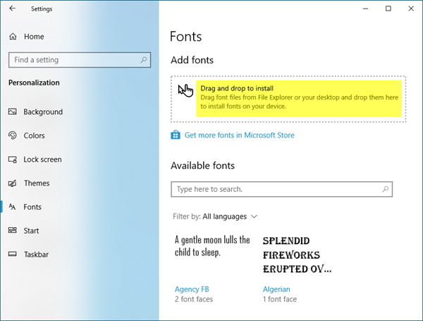 install fonts windows 10