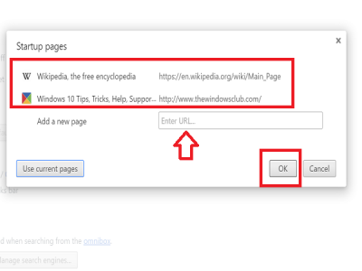 add websites to startup in chrome