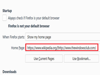 add websites to startup in firefox