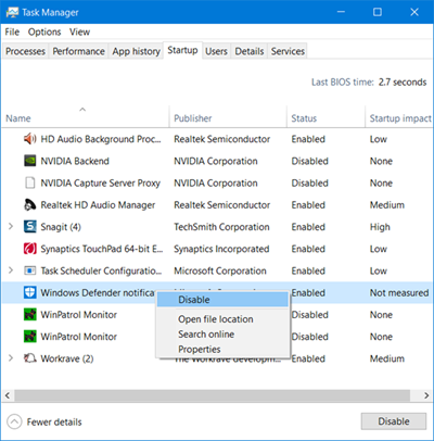 Remove Windows Defender Icon