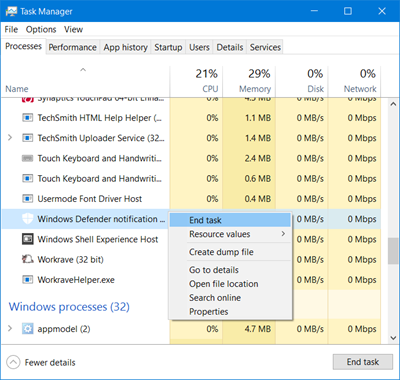 end Windows Defender task manager
