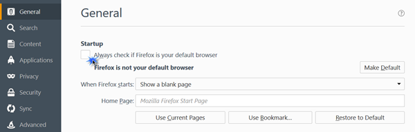 firefox as default browser