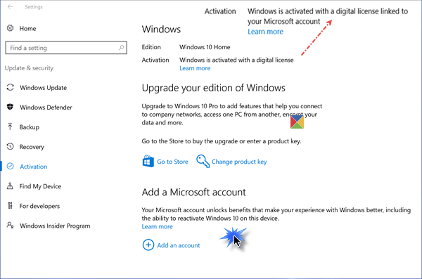 link windows 10 license microsoft account