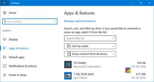 manage Windows 10 optional features 1