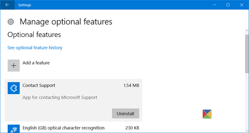 manage Windows 10 optional features 2