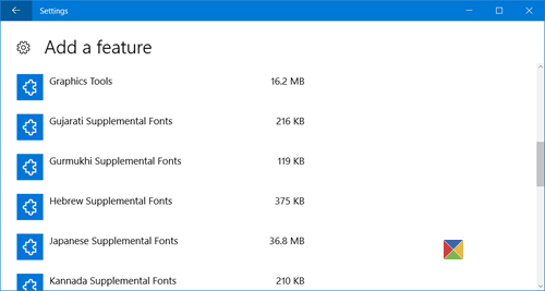 manage Windows 10 optional features 3