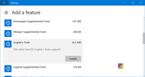manage Windows 10 optional features 4