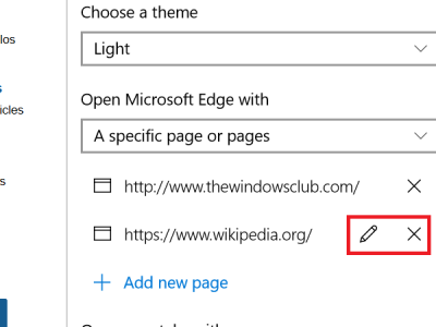 remove website from startup in edge browser