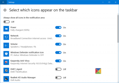 turn off Windows Defender icon