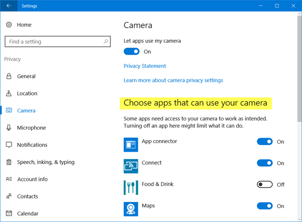 Choose which Apps can use my web camera