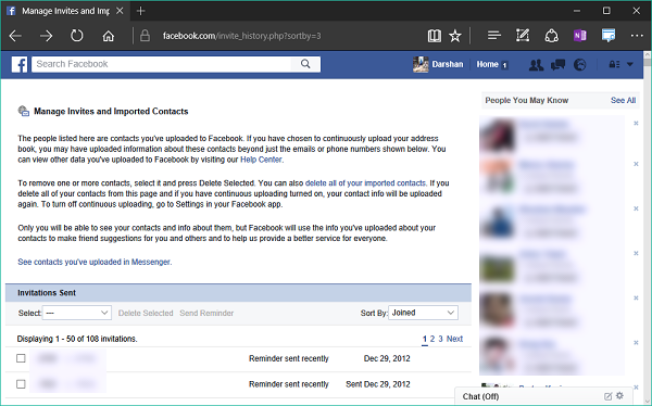 How to see and delete the Contacts you have shared with Facebook