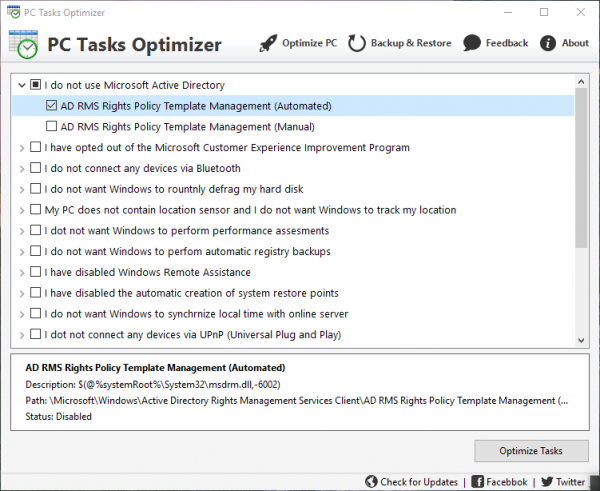 PC Task Optimizer Manage Windows Scheduled Tasks