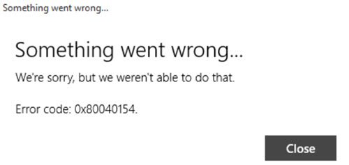 Windows 10 Mail app error 0x80040154