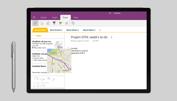 use Surface Pen with OneNote and Cortana