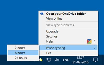 Pause Syncing in OneDrive