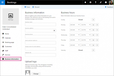 Microsoft Bookings Business Information Page