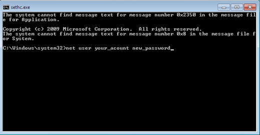 How to reset forgotten Administrator password using sticky keys trick in Windows