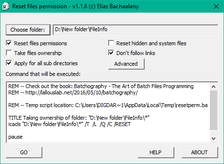 Reset NTFS file permission