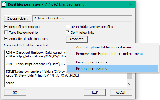 How to reset NTFS file permissions in Windows using Graphical Utility