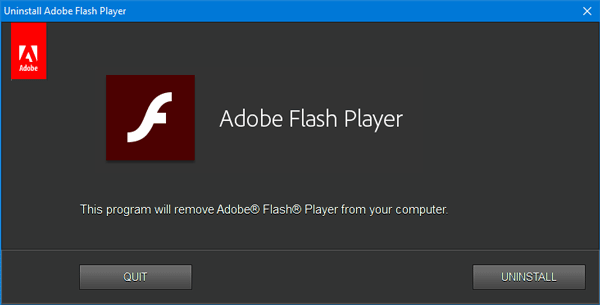 uninstall flash from Computer