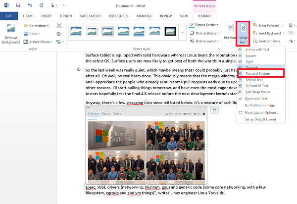 Wrap text around picture in Word