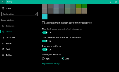 How to change taskbar color without changing start screen color