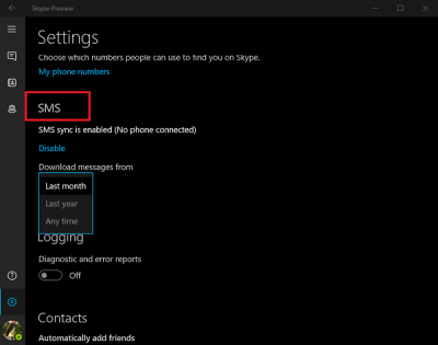 Enable SMS Sync between Windows 10 & Skype