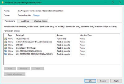 How to restore TrustedInstaller permissions to default in Windows 10