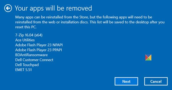 What happens when you Reset Windows 10 computer