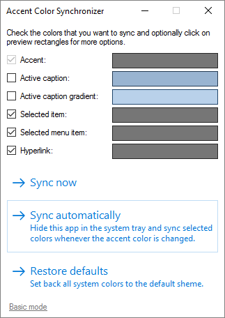 Accent Color Synchronizer for Windows 10