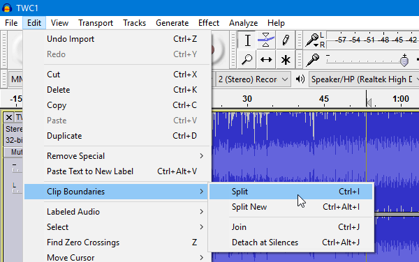 How to split and merge audio files using Audacity-5