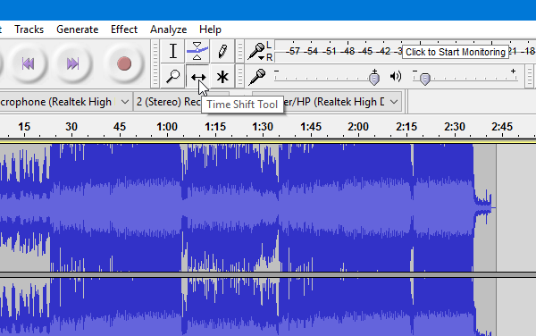 How to split and merge audio files using Audacity