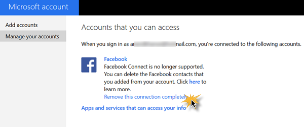 Remove Facebook Contacts from Windows 10