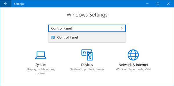 open control panel settings