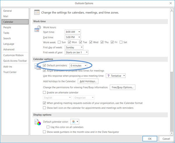 disable Calendar Email Notification in Outlook