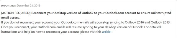 reconnect outlook to outlook com