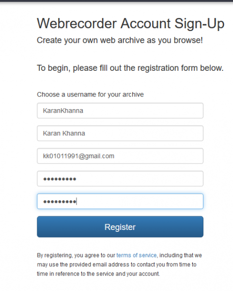 Web recorder sign up page