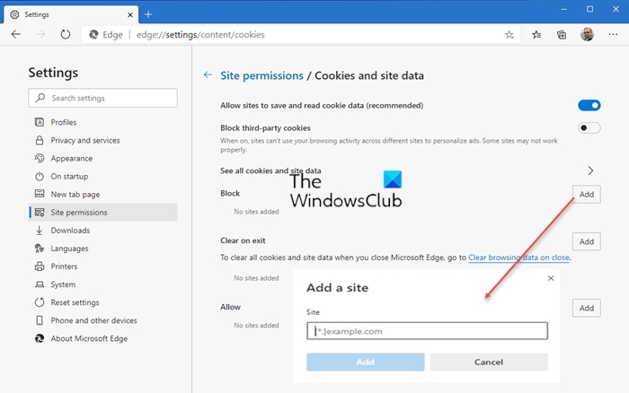 Allow or block Cookies in Microsoft Edge
