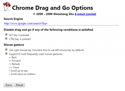 Drag and Go Best Chrome extensions to setup mouse gestures