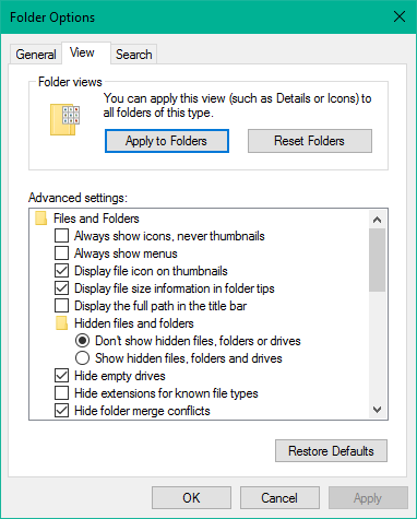 How to apply a folder's view settings to all folders in Windows 10