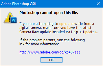 open RAW image in Adobe Photoshop