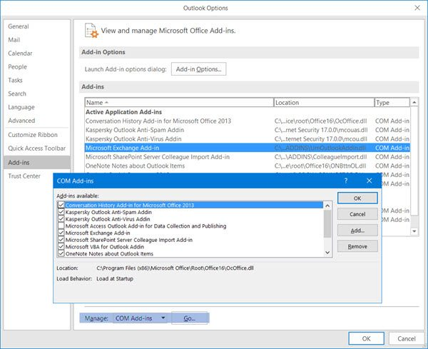 enable, disable or remove Microsoft Outlook add-ins