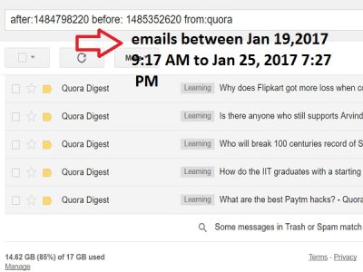 search emails within timestamp in Gmail