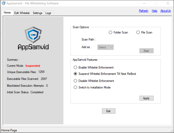 AppSamvid Application Whitelisting software