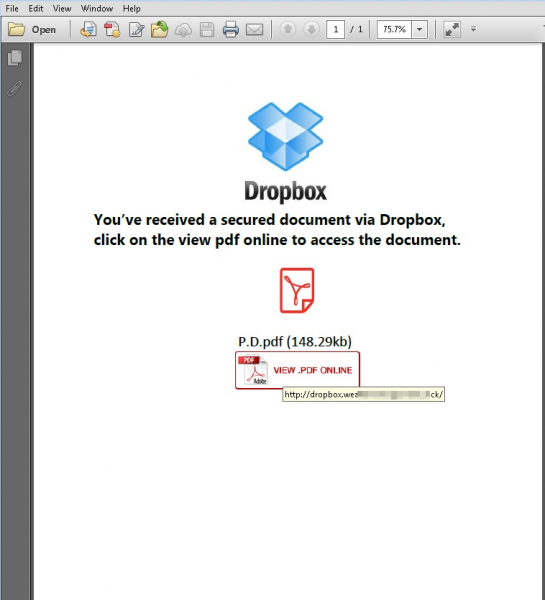 Social Engineering makes use of PDF for Phishing