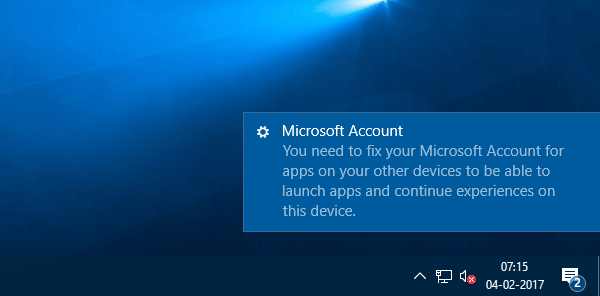 You need to fix your Microsoft Account
