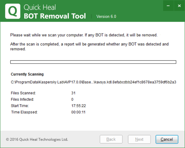 Quick Heal BOT Removal Tool