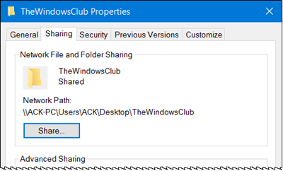 sharing tab is missing in windows 10