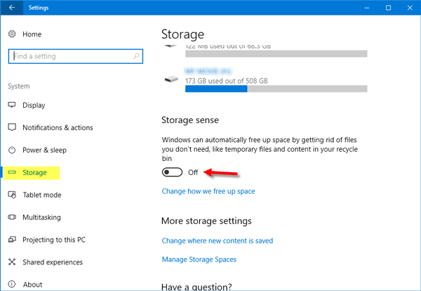 Configure Storage Sense in Windows 10