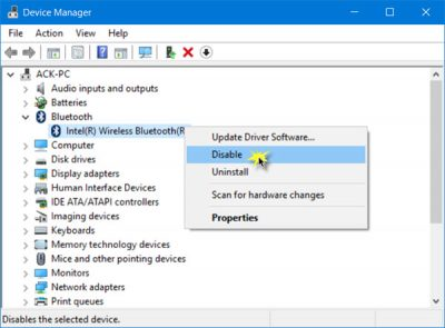 Disable Bluetooth in Windows 10